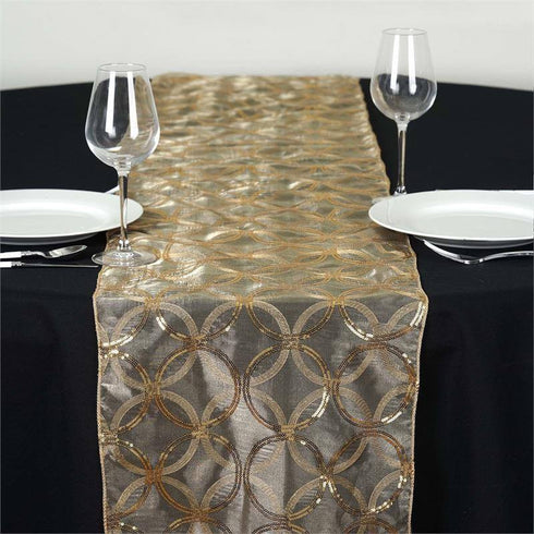 Gold Sequin Circle Designs Table Runners 108x12""