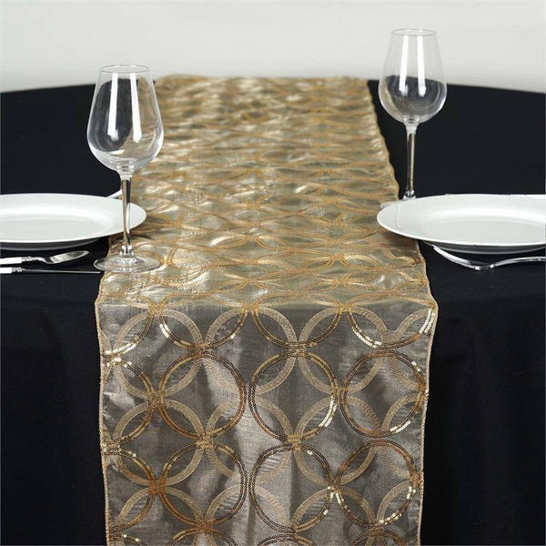 Gold Sequin Circle Designs Table Runners ...