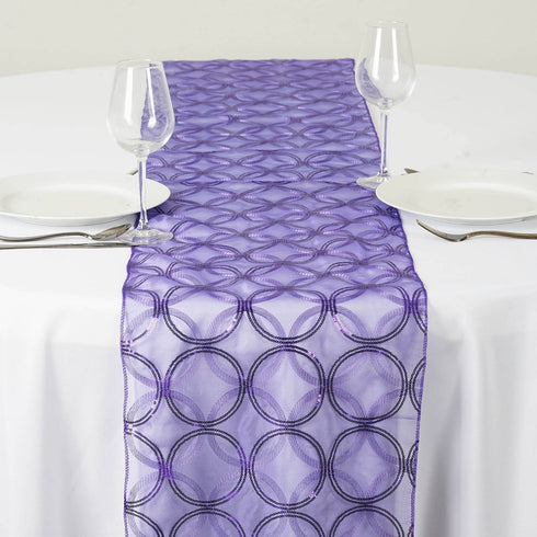 Glamorous Circle Sequin Table Runner - Purple