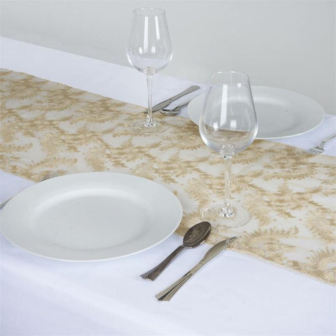 Fairy Dust Lace Table Runner - Champagne