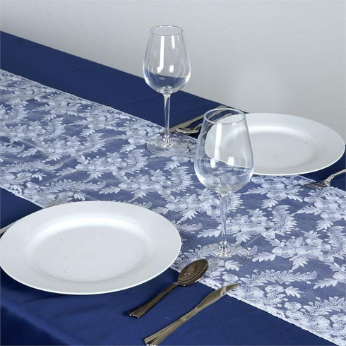 Fairy Dust Lace Table Runner - White / Silver