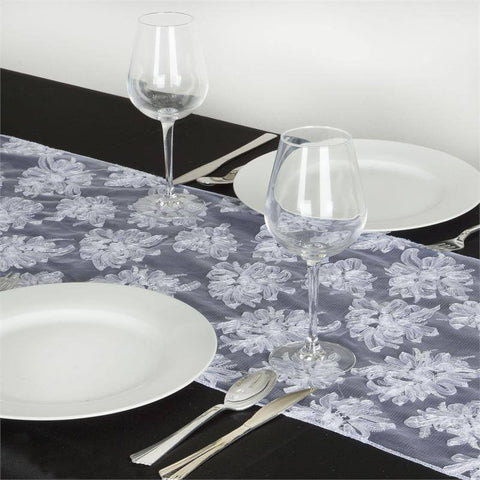 Haute Couture Floral Tulle Table Runner - White