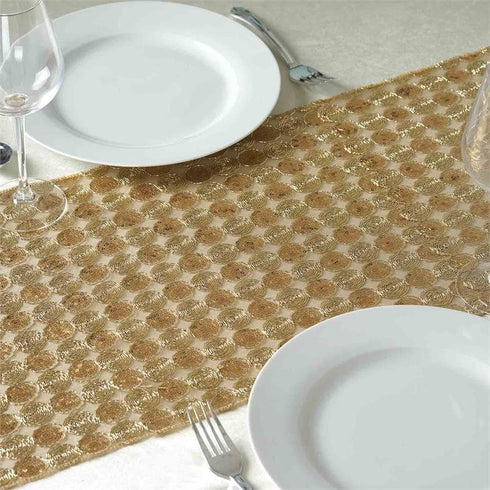 Champagne Premium Upscale Sequin Runner - Table Top Wedding Catering Party Decorations  108x14""