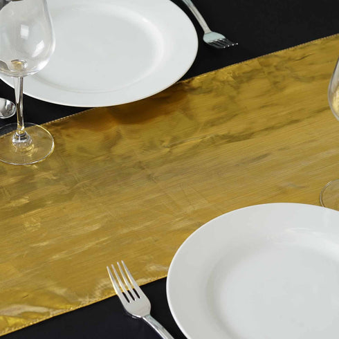 Shimmering Polyester Table Runners - Gold