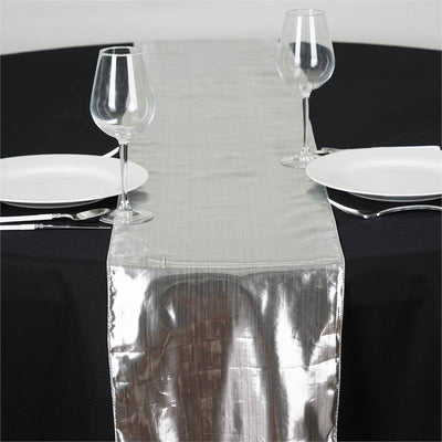 Shimmering Polyester Table Runners - Silver