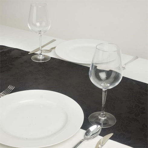 Adoringly Adorned Satin Lily Table Runner - Black