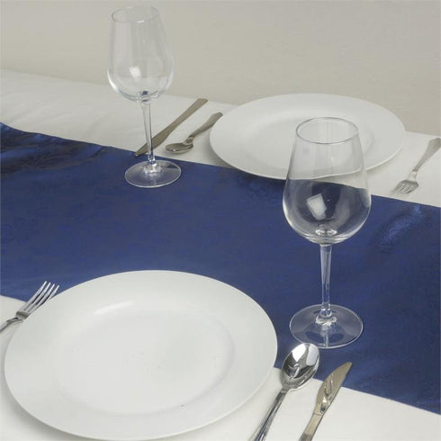Adoringly Adorned Satin Lily Table Runner - Navy Blue