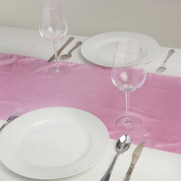 "14""x108"" Pink Lily Flower Embossed Satin Table Runner"