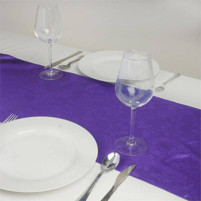 Adoringly Adorned Satin Lily Table Runner - Purple