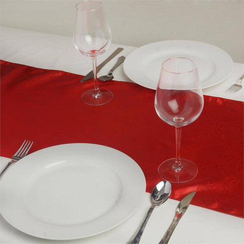 Adoringly Adorned Satin Lily Table Runner - Red