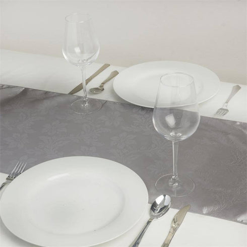 Adoringly Adorned Satin Lily Table Runner - Silver