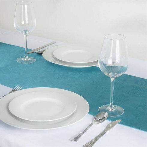 Adoringly Adorned Satin Lily Table Runner - Turquoise