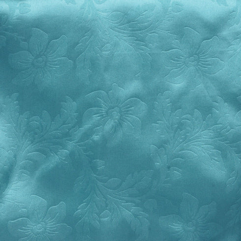 "14""x108"" Turquoise Lily Flower Embossed Satin Table Runner"