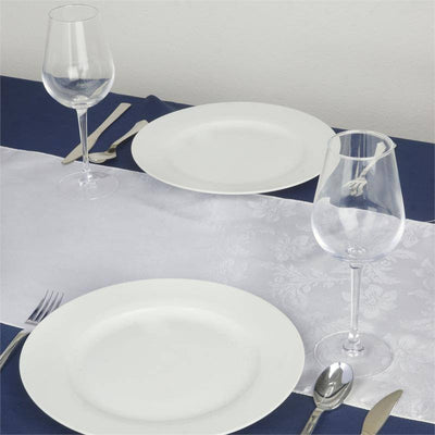 Adoringly Adorned Satin Lily Table Runner - White