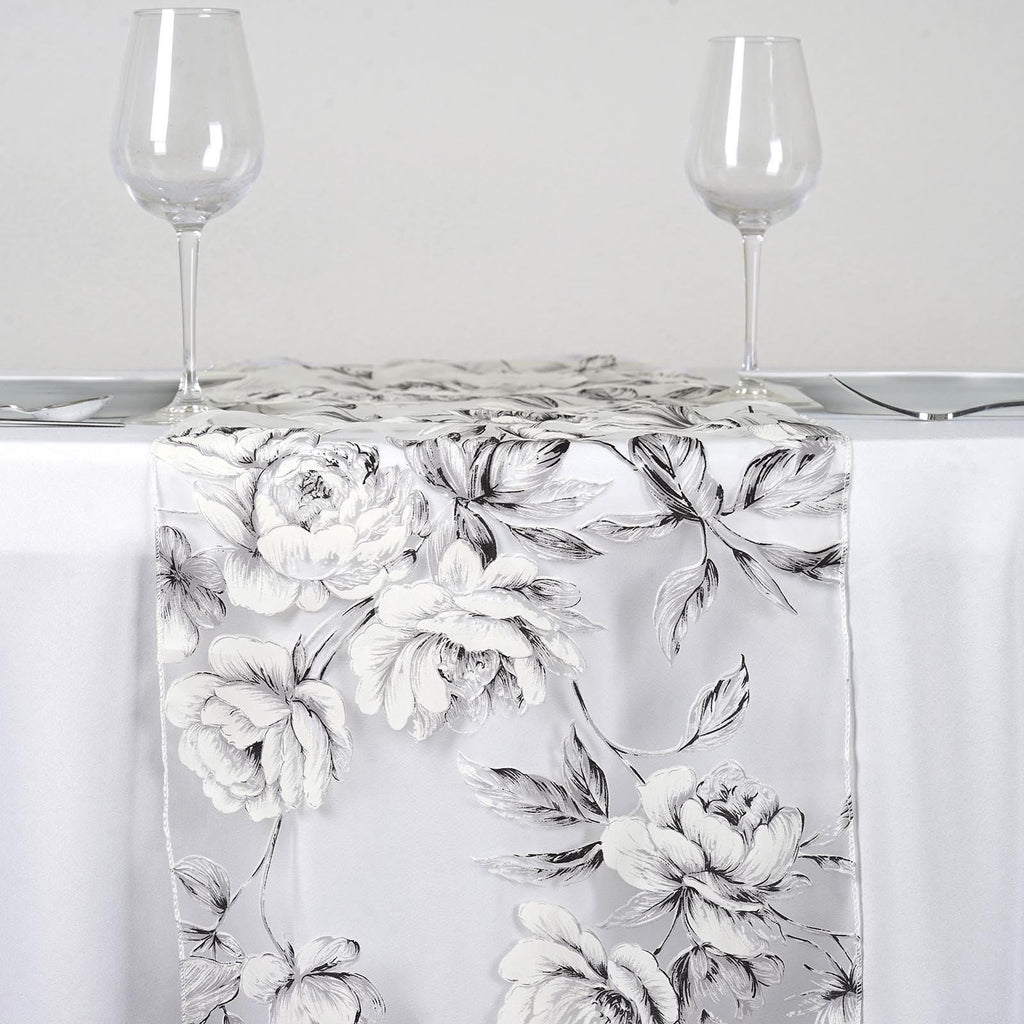 White Sheer Organza Runner With White Rose Design For Table Top Wedding Catering Party Decorations