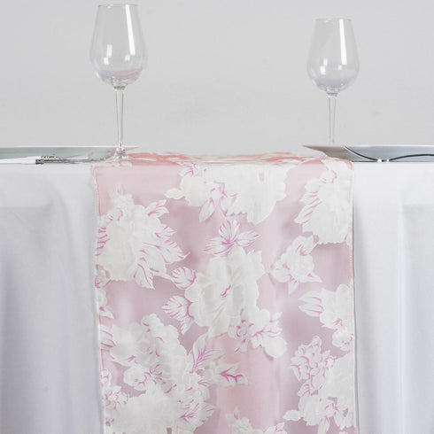 Pink Sheer Organza Runner With Floral Design For Table Top Wedding Catering Party Decorations