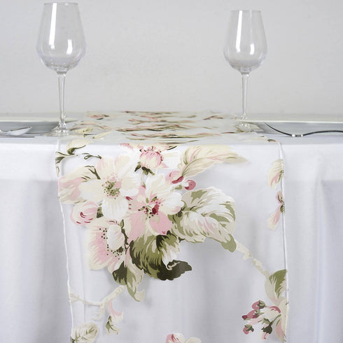 White Sheer Organza Runner With Blush Roses Design For Table Top Wedding Catering Party Decorations
