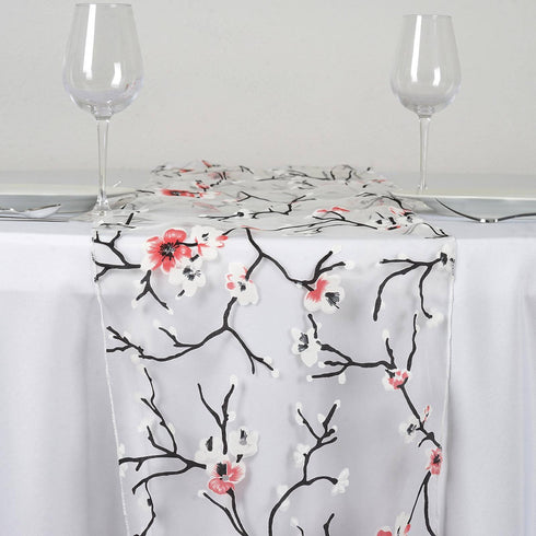 White Sheer Organza Runner With Cherry Blossom Design For Table Top Wedding  Catering Party Decorations ...