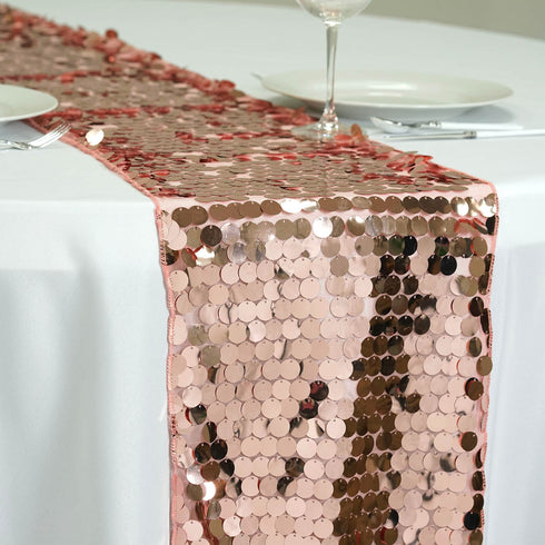 "Premium Payette Sequin Table Top Runners 108"" x 13"" - Blush"