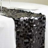 "Premium Payette Sequin Table Top Runners 108"" x 13"" - Black"