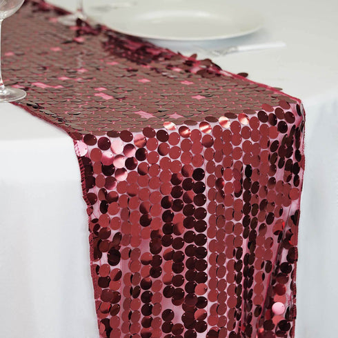 "13""x108"" Premium Burgundy Payette Sequin Table Runners"