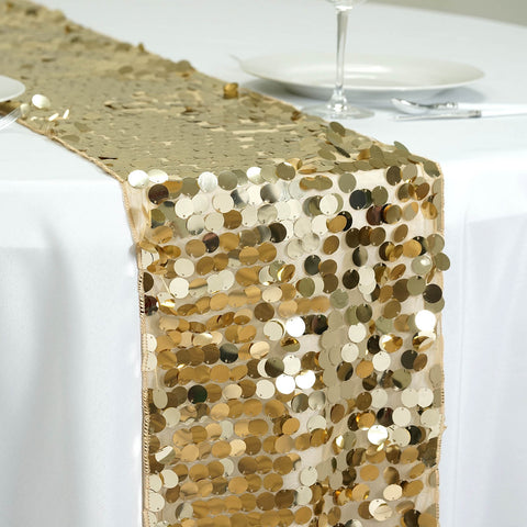 Premium Champagne Payette Sequin Table Top Runners Wedding Catering Party Decorations  108x13""