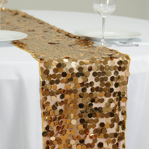 "Premium Payette Sequin Table Top Runners 108"" x 13"" - Gold"