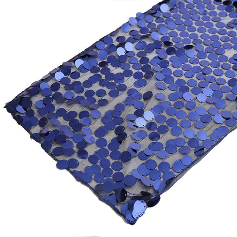 "13""x108"" Navy Blue Premium Payette Sequin Table Top Runners"