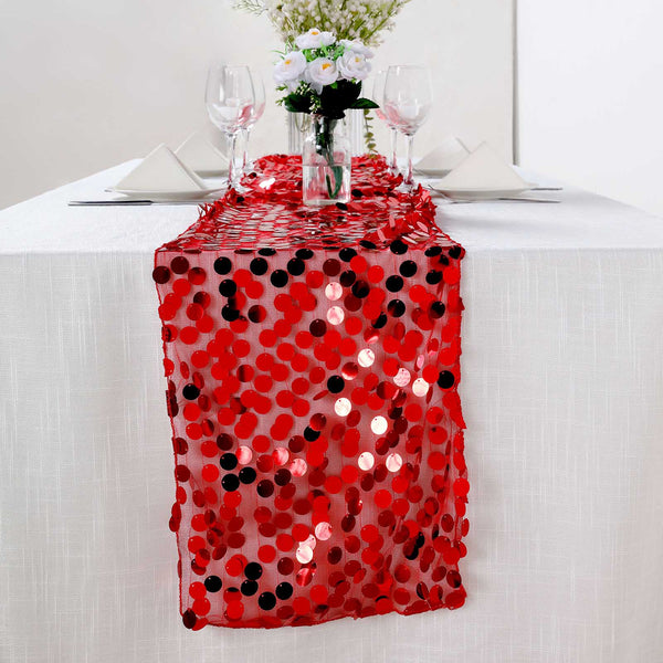 "13""x108"" Big Sequin Runners Red Payette Table Runners"