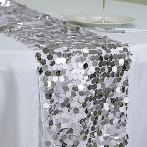 "Premium Payette Sequin Table Top Runners - 108"" x 13"" - Silver"