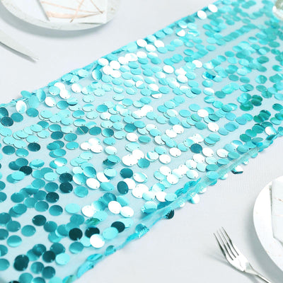 "13""x108"" Turquoise Premium Payette Sequin Table Top Runners"