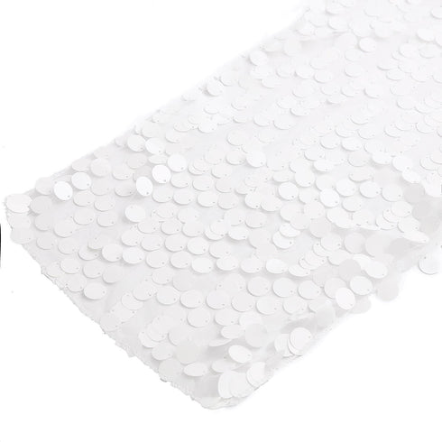 "13""x108"" White Premium Payette Sequin Table Top Runners"