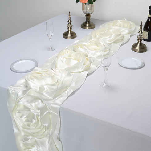 Ivory Silk Large Rosette Satin Table Runner