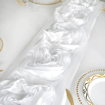 White Silk Large Rosette Satin Table Runner
