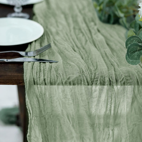 10FT Gauze Table Runner Cheesecloth Fabric For Wedding Arch, Arbor Decor - Olive Green