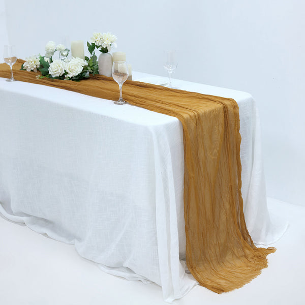 10FT Gauze Table Runner Cheesecloth Fabric For Wedding Arch, Arbor Decor - Mustard Yellow