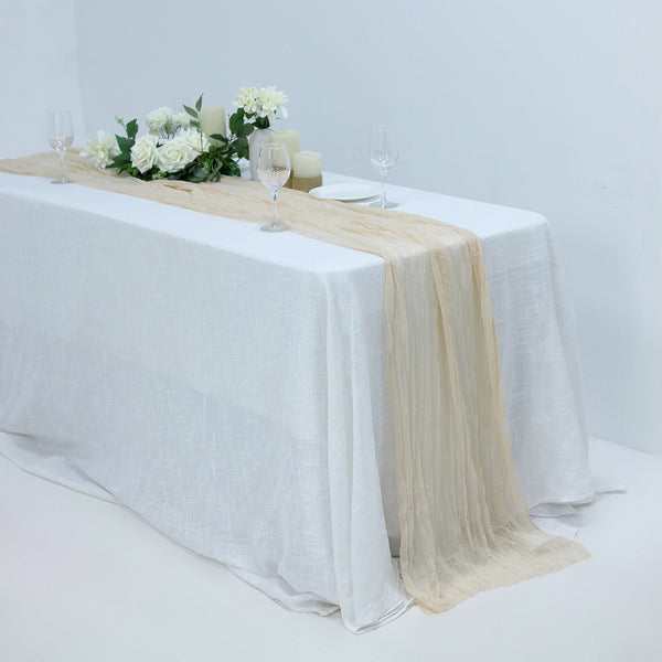 10FT Gauze Table Runner Cheesecloth Fabric For Wedding Arch, Arbor Decor - Cream