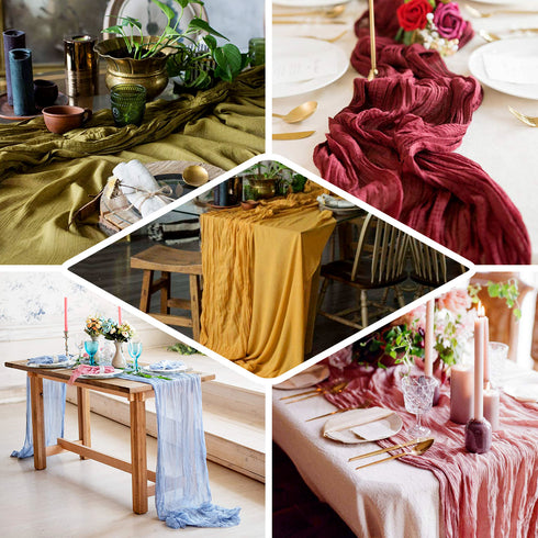 10FT Dusty Rose Cheesecloth Table Runner, Gauze Fabric Boho Wedding Arbor Decor