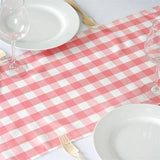 Wholesale Gingham Polyester Dinner Table Runner - Rose Quartz | White