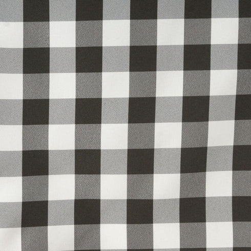 Wholesale Gingham Checkered Polyester Dinner Restaurant Table Top Wedding Catering Party Runner - WHITE / BLACK - 14 x 108""