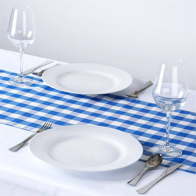 Wholesale Gingham Checkered Polyester Dinner Restaurant Table Top Wedding Catering Party Runner - WHITE / BLUE - 14 x 108""