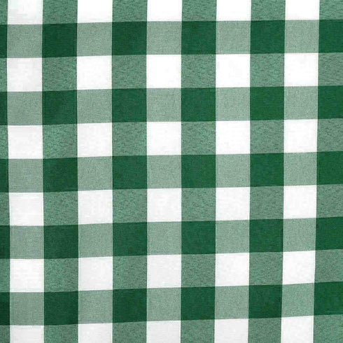 Wholesale Gingham Checkered Polyester Dinner Restaurant Table Top Wedding Catering Party Runner - WHITE / GREEN - 14x108""