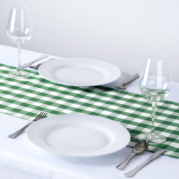 Buffalo Plaid Table Runner | Green / White | Gingham Polyester Checkered Table Runner