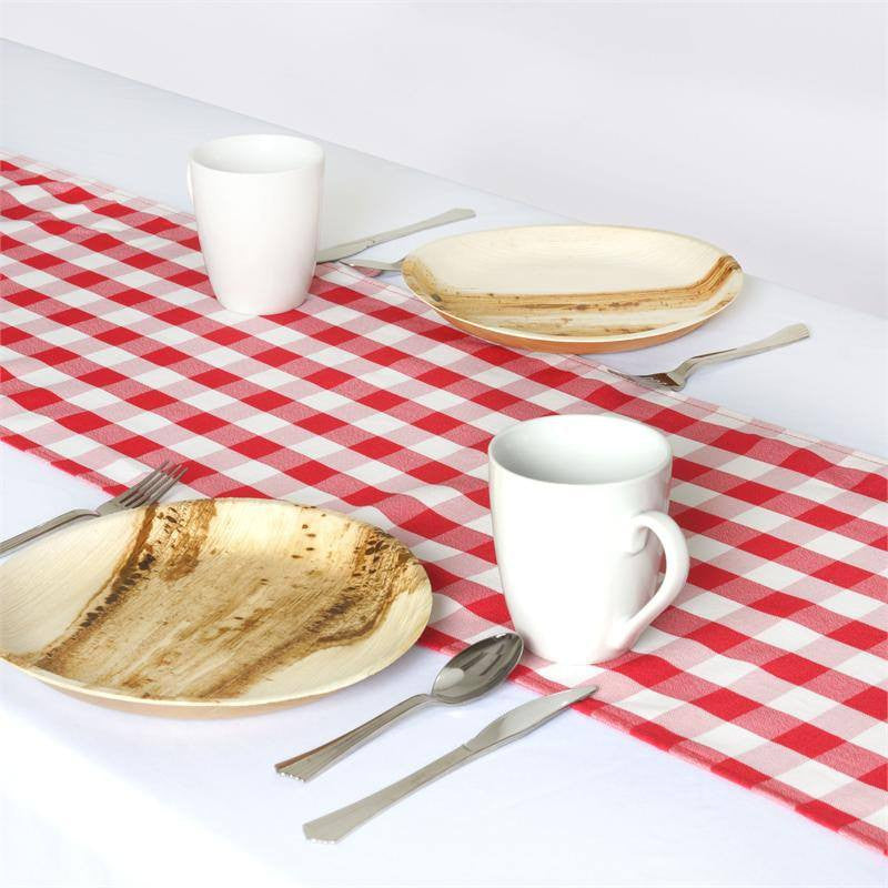 Wholesale Gingham Checkered Polyester Dinner Restaurant Table Top Wedding Catering Party Runner - WHITE / RED - 14 x 108""