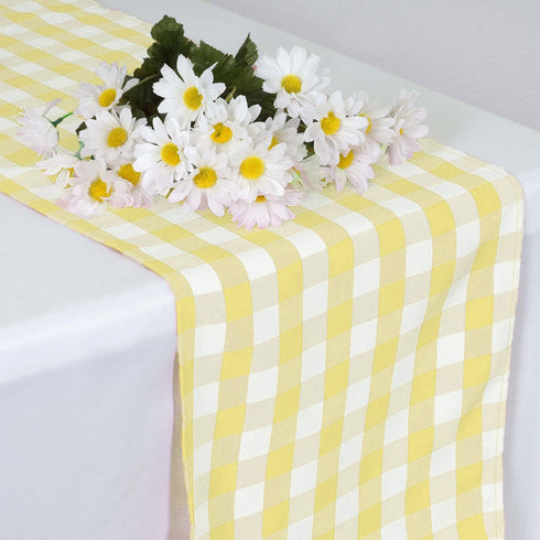 Buffalo Plaid Table Runner | Yellow / White | Gingham Polyester Checkered Table Runner