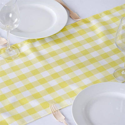 Gingham Polyester Table Runner - Yellow / White