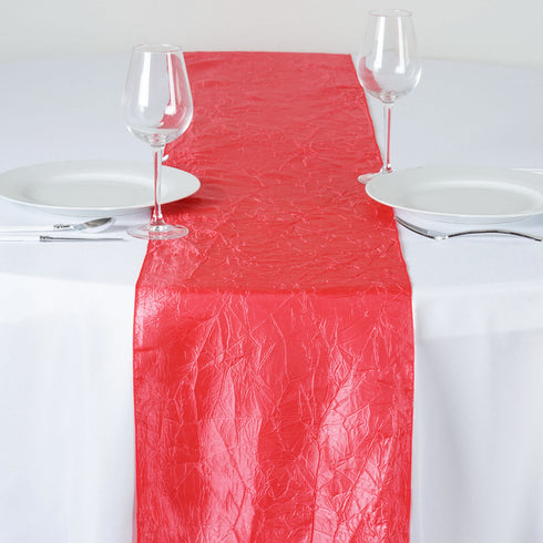 Coral Crinkle Crushed Taffeta Table Runner