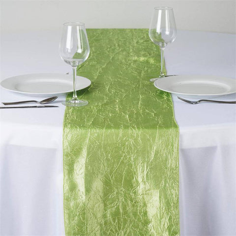Apple Green Taffeta Crinkle Table Runner
