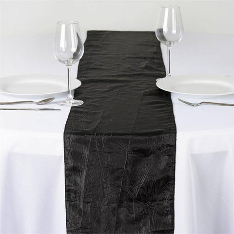 Black Taffeta Crinkle Table Runner