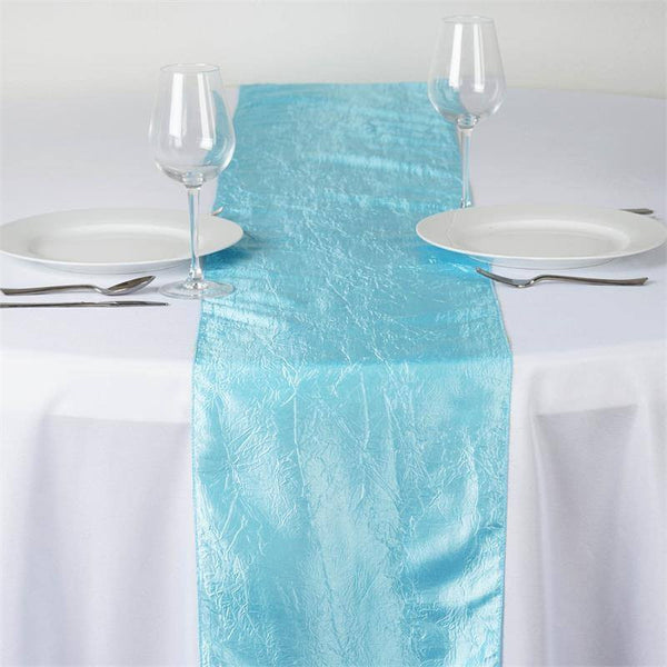 Blue Crinkle Crushed Taffeta Table Runner